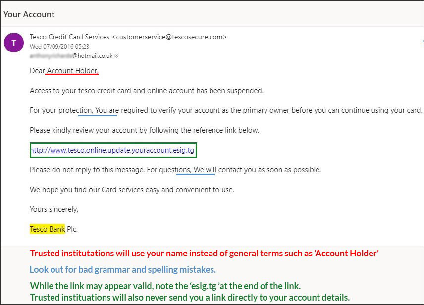 Example of spam email