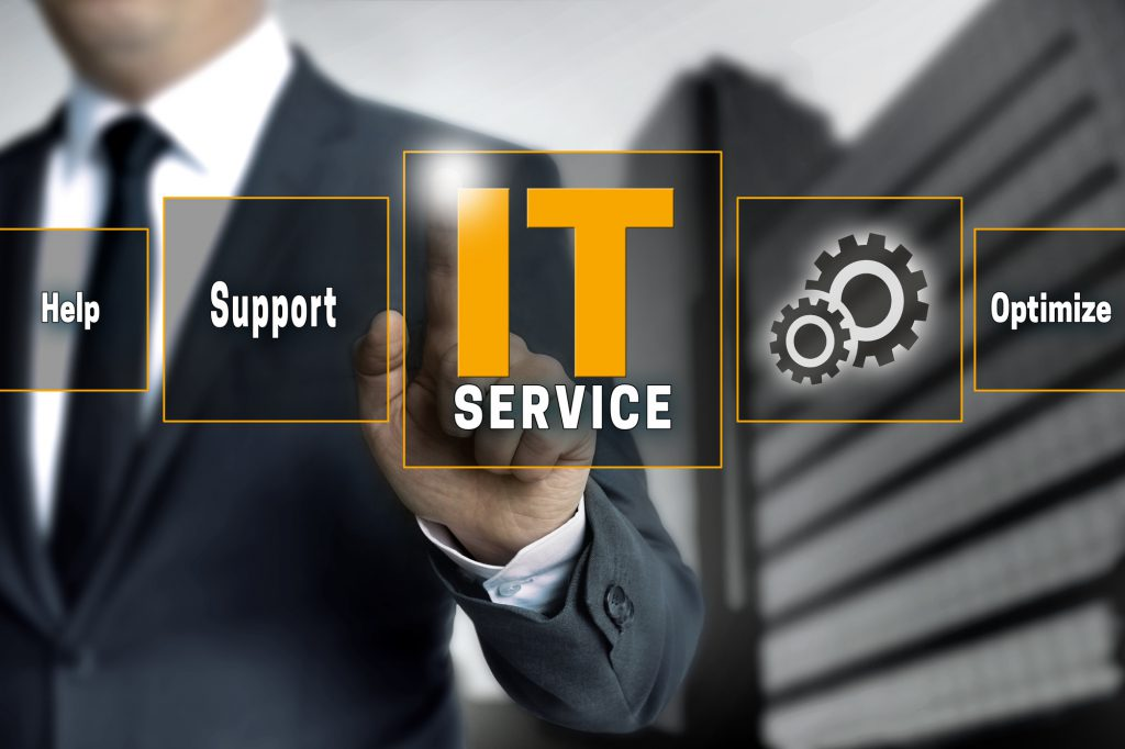 IT service optimize support help touchscreen is operated by businessman.